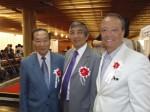 Keizo Uehara – Superintendente Geral da Fundação Kunito Miyasaka, Oridio Shimizu – Superintendente do Banco Santander e Antonio Rosa Neto – Presidente da Fundação Kunito Myiasaka.