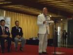Antonio Rosa Neto – Presidente da Fundação Kunito Miyasaka quebra o protocolo da cerimônia para agradecer a premiação e ressaltar o empenho da Fundação Kunito Miyasaka na integração entre o Brasil e o Japão e também na luta pela preservação ambiental com o Parque Ecológico Imigrantes.