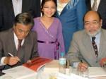 Samuel Oshida, advogado, Tuyoci Ohara, coordenador da comissão jurídica da Associação do Centenário e Renato Nakaya, presidente da Sakura Nakaya